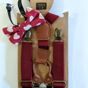 Other - Red Suspenders & Red Heart Bow Tie NWT